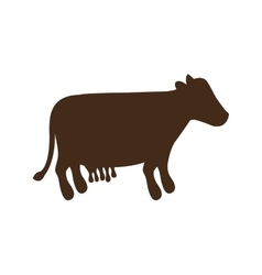Silhouette brown color with milch cow vector