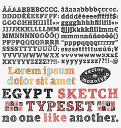 slab serif sketched typeset vector image