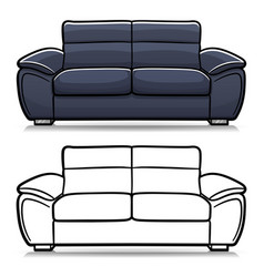 sofa couch cartoon isolated vector image