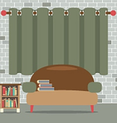 Sofa with bookcase in front of green curtain vector