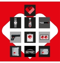 St Valentines Day Symbols mens Accessories Icons vector
