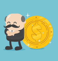 successful businessman stand about big dollar coin vector image