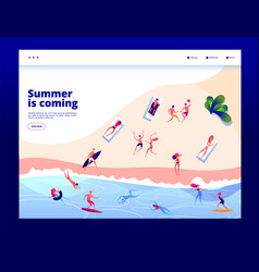 summer beach people crowd sunbursting swimming vector image