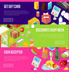 Supermarket shopping discounts isometric posters vector