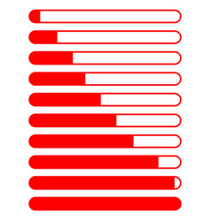 Symbol loading red colour different percent vector