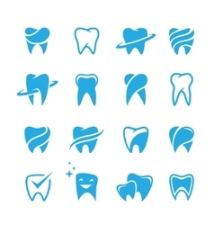 Teeth icon set isolated on white background vector