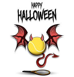 Tennis ball with horns wings and devil tail vector