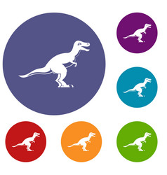 theropod dinosaur icons set vector image