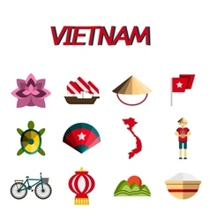 Vietnam flat icon set vector image