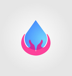water drop care save icon hand designs vector image
