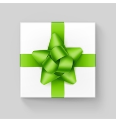 White Gift Box with Green Ribbon Bow on Background vector image