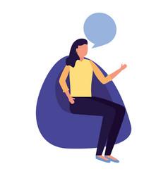 Woman sitting on beanbag chair vector