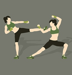 Young woman fighting body combat vector image