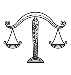 zodiac libra sign balance scales outline drawing vector image