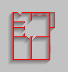 apartment house floor plans red icon with vector image vector image