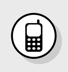 cell phone sign flat black icon in white vector image