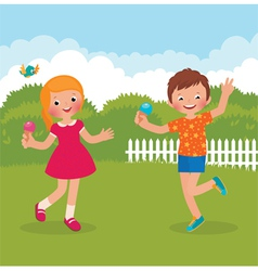 Funny kids happy summer vector image vector image