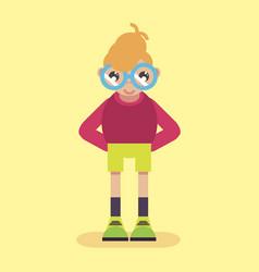 geek logo nerd glasses icon man character smart vector image