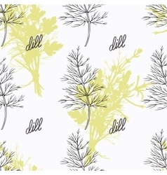 Hand drawn dill branch and handwritten sign Spicy vector image vector image