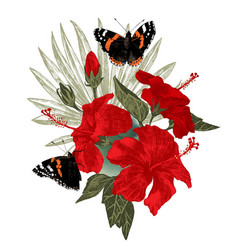hibiscus flowers with butterflies and palm leaf vector image