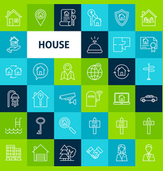 line house icons vector image vector image