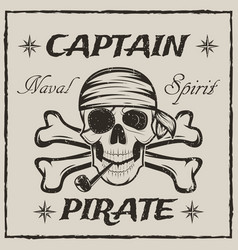 pirate captain skull and crossbones sketch vector image
