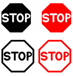 symbol stop black and red color vector image vector image