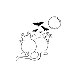 Two fat black cats over moonlight Scetch vector image vector image