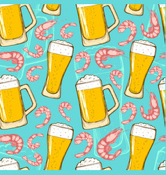 beer and shrimps seamless pattern vector image vector image