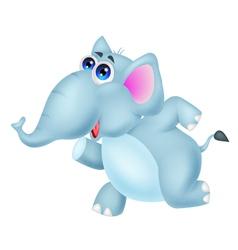 Cute elephant cartoon running vector image