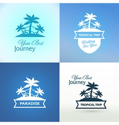 Emblems with tropical island vector