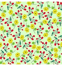 green seamless summer patter with yellow flowers vector image