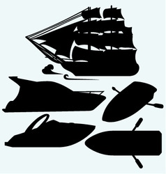 Wooden boat with paddles sailing ship and luxury vector image vector image