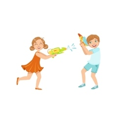 Boy And Girl Playing Water Pistols Fight vector image