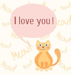 Cute romantic background with cat vector image vector image