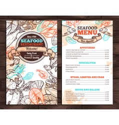 Design Of Seafood Menu In Sketch Style vector image
