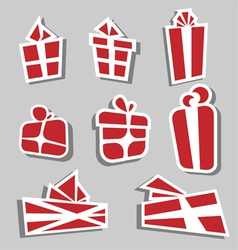 Gift box sticker set vector image