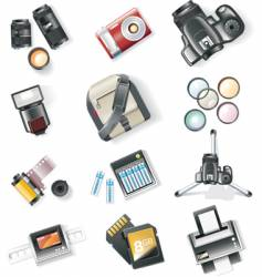 Photography equipment icon set vector