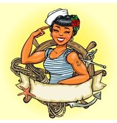 Retro Girl logo design Pin Up vector image