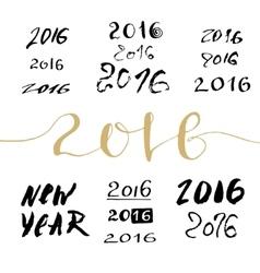 New Year handwritten sign bundle Calligraphic vector image