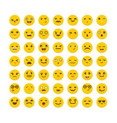 set of emoticons cute emoji icons flat design vector image