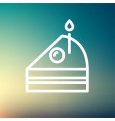 Slice of Cake with candle thin line icon vector image vector image