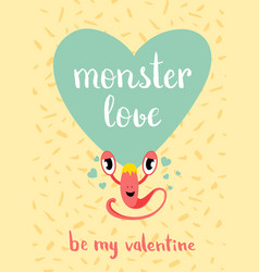 valentines day monster love card with blue vector image vector image