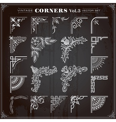 Vintage Corners And Borders Set 3 vector image vector image