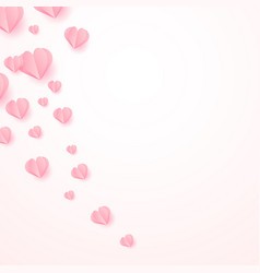 abstract background with paper cut pink hearts vector image