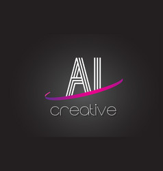 Ai a i letter logo with lines design and purple vector