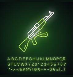 Akm weapon neon light icon virtual video game vector