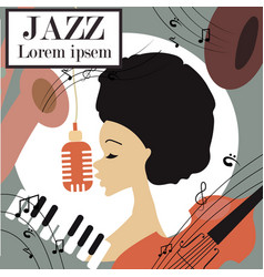 an afro american jazz singer vector image