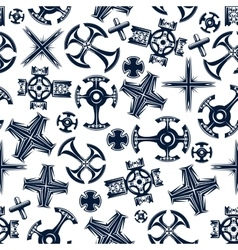 Ancient blue crosses seamless pattern vector image