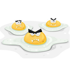 angry fried chicken eggs vector image